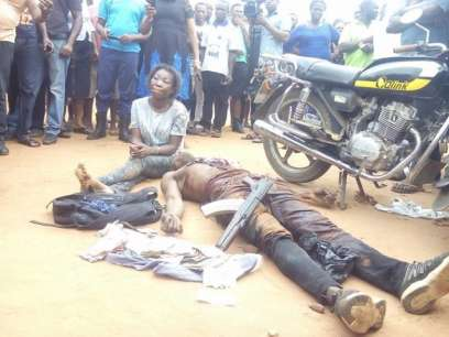 A female armed robbery gang leader arrested in Imo State part of Nigeria