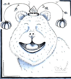 Monkey Business Whimsical Bear Ink Drawing by Tawnya Boe