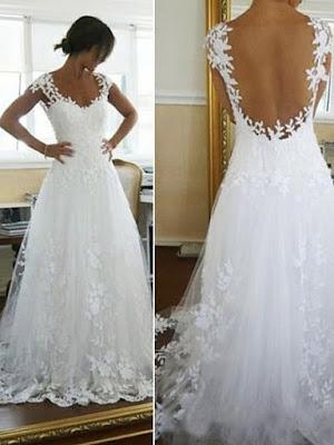 Scoop A-line/Princess Applique Lace Chapel Train Wedding Dress (11341050)
