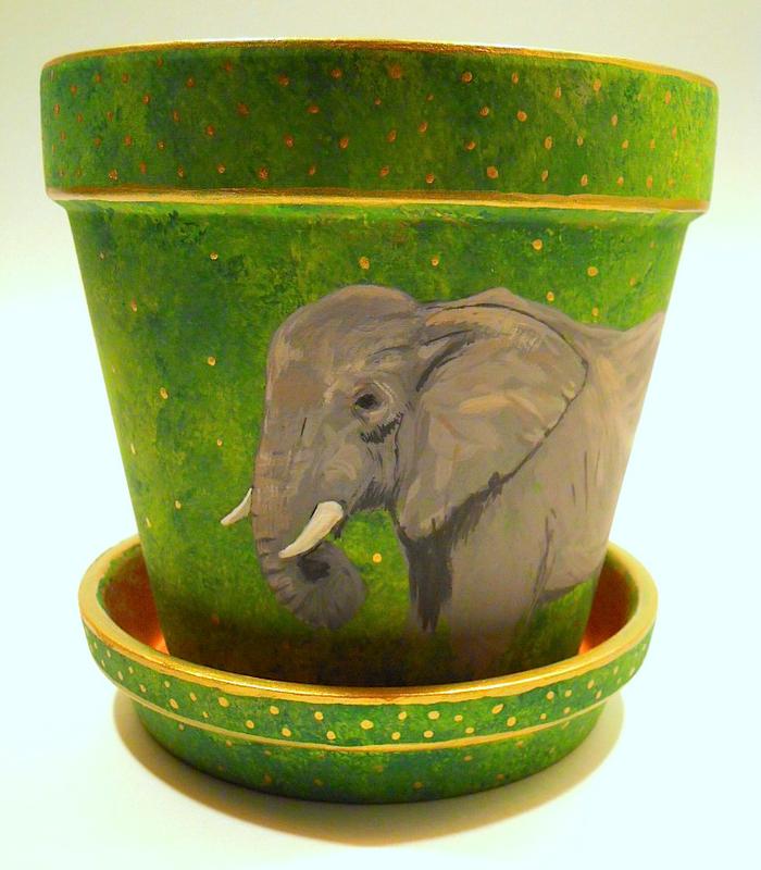 An Elephant a Day & An Elephant a Day: Elephant No. 300: Painted Terracotta Flower Pot