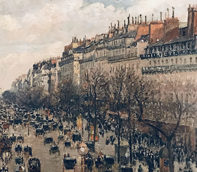 Detail from The Hermitage Museum's Camille Pissarro oil painting, 'Boulevard Montmartre, afternoon sun', 1897