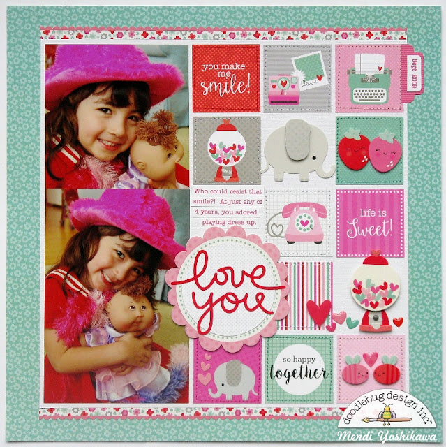 Doodlebug Sweet Things Valentine's Day Layout by Mendi Yoshikawa