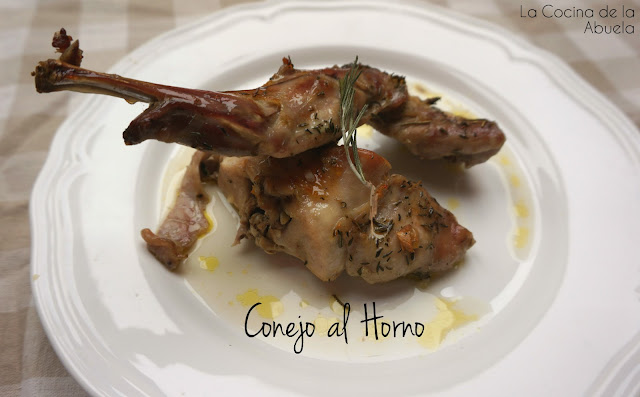 Conejo horno asado receta plato final