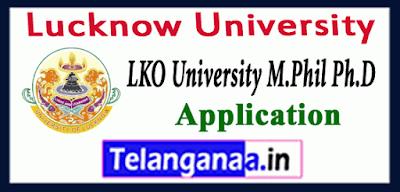 Lucknow University M.Phil Ph.D Application Form