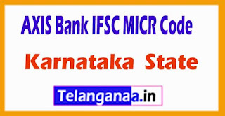 AXIS BANK IFSC MICR Code Karnataka State