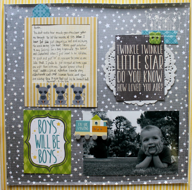 """ Twinkle, Twinkle"" layout by Bernii Miller for BoBunny using the Toy Box collection."