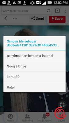Kemudian pilih gambar yang ingin disimpan di save ke penyimpanan bersama internal atau ke memori internal, Google Drive, kartu SD atau jika tidak jadi pilih Batal