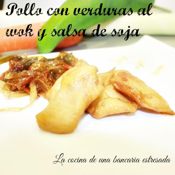 Pollo con verduras en wok y salsa de soja