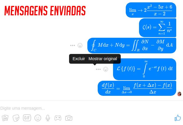 Exemplos de mensagens enviadas