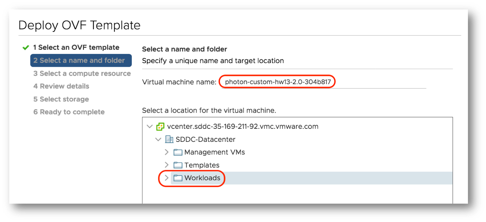 Deploy a Virtual Machine in VMware Cloud on AWS vCenter from