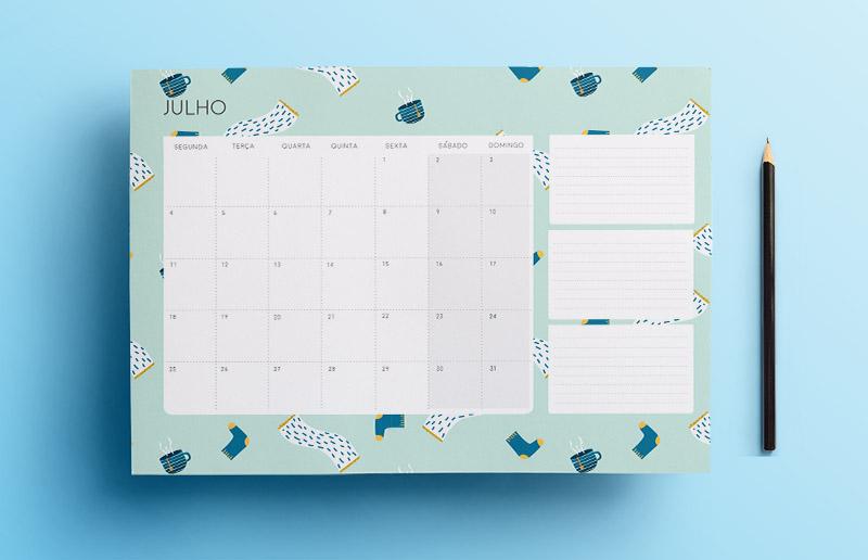Calendário lindo de julho para imprimir (de graça) e ajudar na organização do mês!