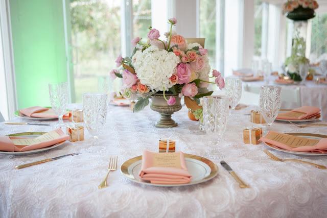 peach+orange+salmon+pink+pastel+shabby+chic+summer+spring+tea+garden+party+victorian+rebel+with+a+camera+wedding+bride+groom+centerpeice+cake+ruffle+ruffles+3 - Detail Spotlight: Peach & Gold