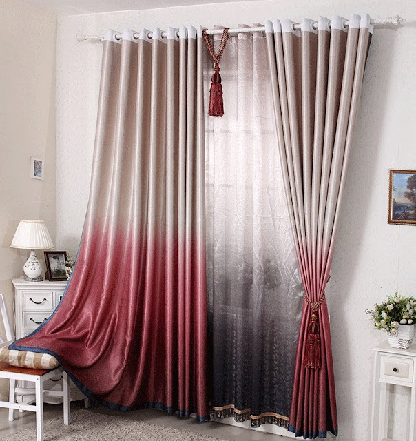 Modern curtain designs in red peach tone with tussles