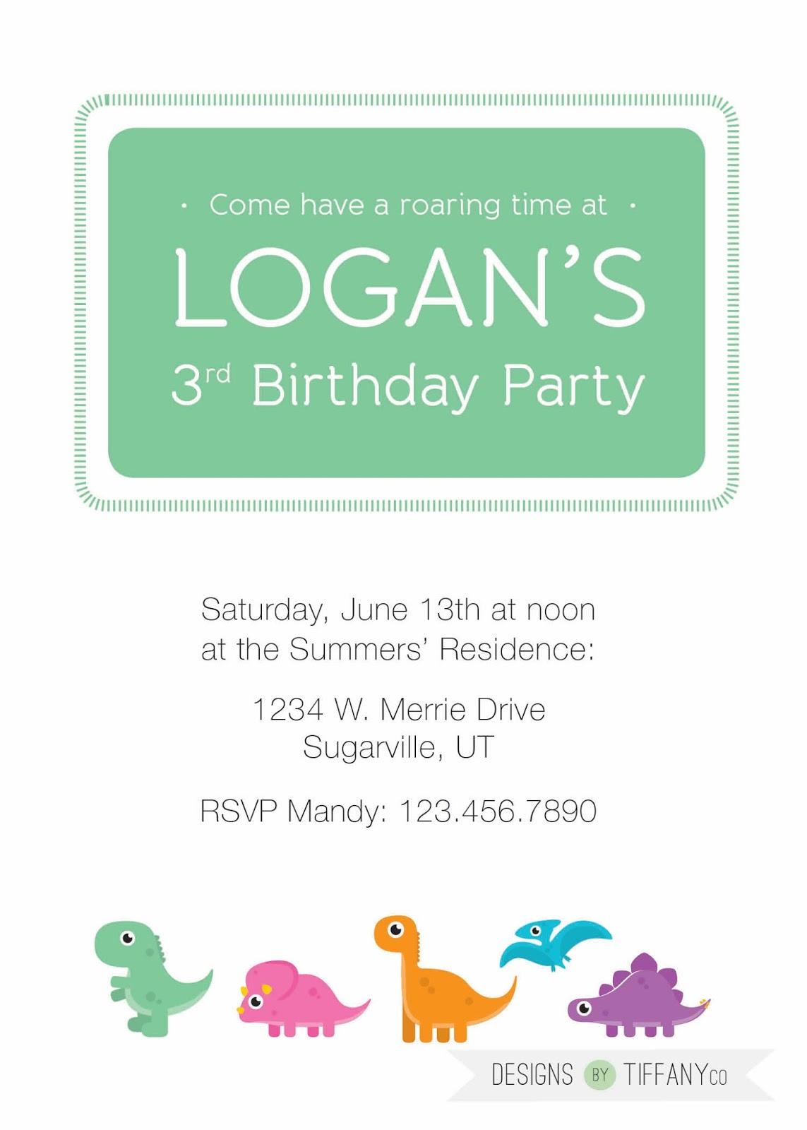 Dinosaur Birthday Party Invitation - Designs by TiffanyCo