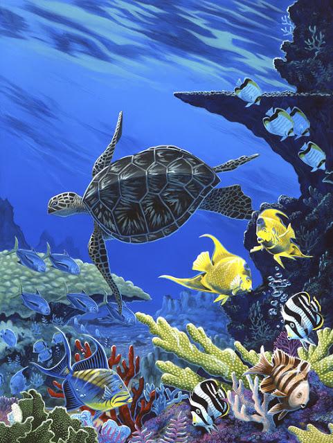 Akvaario tapetti kalat koralli veden alla lapset Lapset kilpikonna