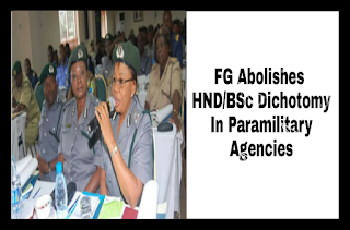 Image for FG Abolishes HND/BSc Dichotomy In Paramilitary Agencies