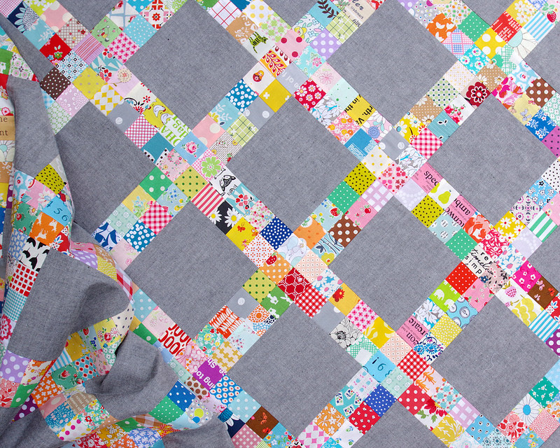 Postage Stamp Scrap Buster Quilt | © Red Pepper Quilts 2018