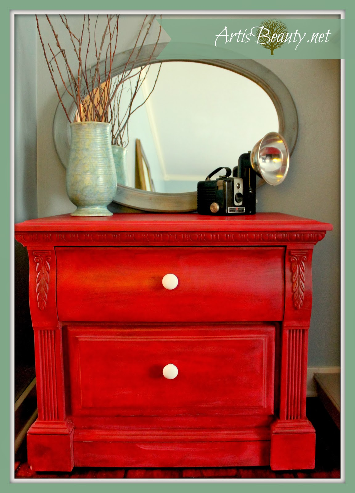 Art Is Beauty Firecracker Red Nightstand Painted Makeover