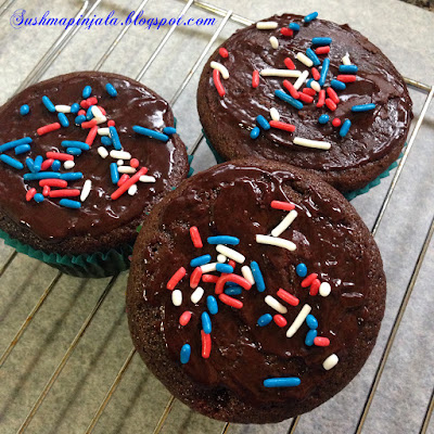 Whole Wheat Eggless Chocolate Cupcakes