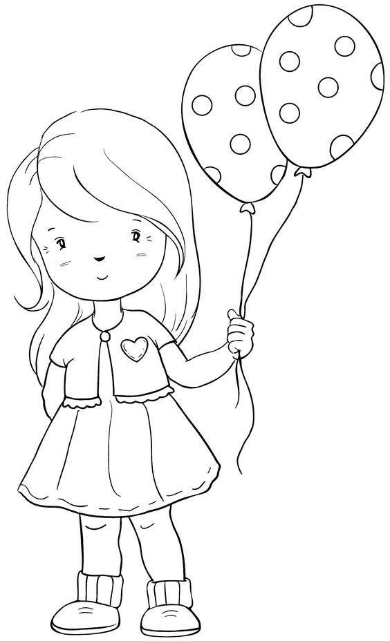Tranh tô màu bé gái cầm bóng bay
