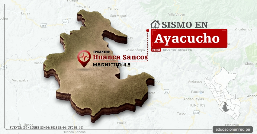 Temblor en Ayacucho de magnitud 4.8 (Hoy Lunes 23 Abril 2018) Sismo EPICENTRO Huanca Sancos - Víctor Fajardo - Lucanas - IGP - www.igp.gob.pe