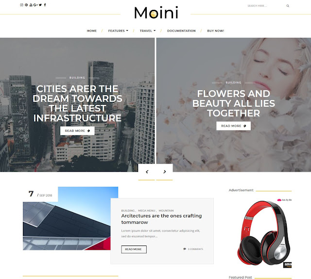 Download Moini Blogger Blogspot Template Gratis