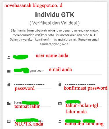 formulir pendaftaran akun GTK di http://gtkedit.data.kemdikbud.go.id bagian 1