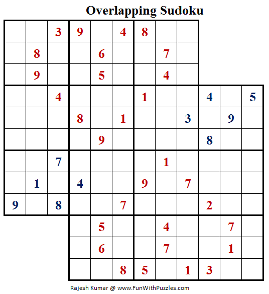 Overlapping Sudoku Puzzle (Fun With Sudoku #157)
