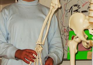 Niña con esqueleto en el cole