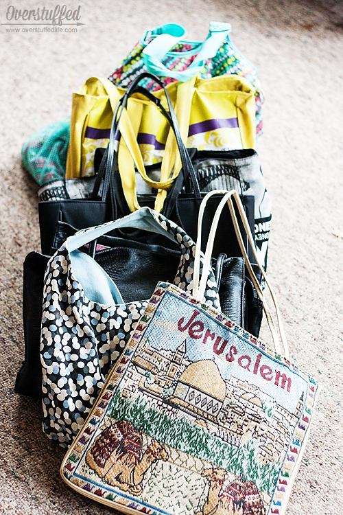 Have too many bags? Give them a specific assignment and get rid of the rest.