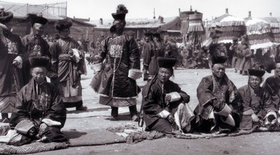 Early 20th century photograph of Mongolia showing traders from The Tea Road Mongolia
