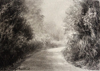 Charcoal study work of a landscape from Coorg by Manju Panchal