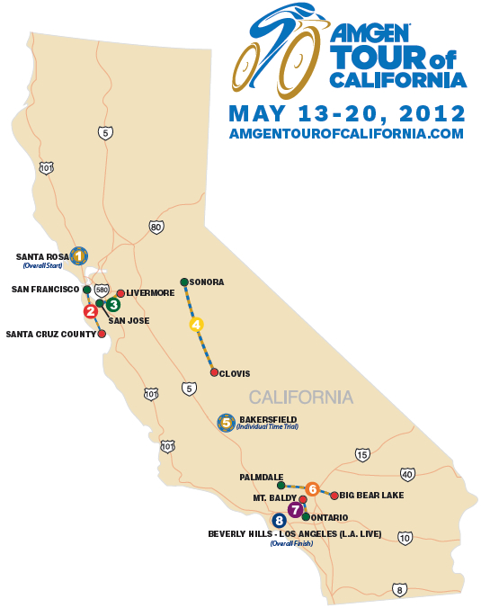 Stage routes Tour of California Pedal Dancer
