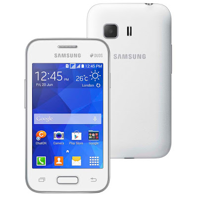 Samsung Galaxy Young 2 Specifications - LAUNCH Announced 2014, June Also Known As Samsung Galaxy Young 2 G130H DISPLAY Type TFT capacitive touchscreen, 256K colors Size 3.5 inches (~55.5% screen-to-body ratio) Resolution 320 x 480 pixels (~165 ppi pixel density) Multitouch Yes BODY Dimensions 109.8 x 59.9 x 11.8 mm (4.32 x 2.36 x 0.46 in) Weight 108 g (3.81 oz) SIM Dual SIM (Micro-SIM, dual stand-by) PLATFORM OS Android OS, v4.4.2 (KitKat) CPU 1.0 GHz Cortex-A7 MEMORY Card slot microSD, up to 32 GB (dedicated slot) Internal 4 GB, 512 MB RAM CAMERA Primary 3.15 MP Secondary No Features Geo-tagging Video 480p@24fps NETWORK Technology GSM / HSPA 2G bands GSM 850 / 900 / 1800 / 1900 - SIM 1 & SIM 2 3G bands HSDPA 900 / 2100 Speed HSPA 21.1/5.76 Mbps GPRS Yes EDGE Yes COMMS WLAN Wi-Fi 802.11 b/g/n, Wi-Fi Direct, hotspot GPS Yes, with A-GPS, GLONASS USB microUSB v2.0 Radio FM radio Bluetooth v4.0, A2DP FEATURES Sensors Accelerometer Messaging SMS(threaded view), MMS, Email, Push Mail, IM Browser HTML5 Java No SOUND Alert types Vibration; MP3, WAV ringtones Loudspeaker Yes 3.5mm jack Yes BATTERY  Removable Li-Ion 1300 mAh battery Stand-by  Talk time Up to 6 h (3G) Music play Up to 24 h MISC Colors Iris Charcoal, White SAR US 0.87 W/kg (head)     0.94 W/kg (body)     SAR EU 0.92 W/kg (head)     0.44 W/kg (body)      - MP4/H.264 player - MP3/WAV/eAAC+/FLAC player - Photo/video editor - Document viewer