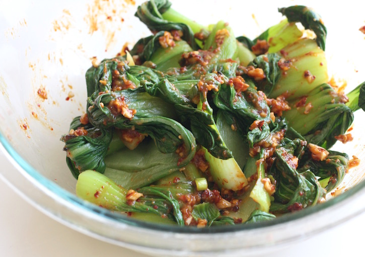 bok choy muchim with soy bean paste