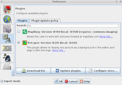 Search and enable plugin PicLayer in the setting JOSM