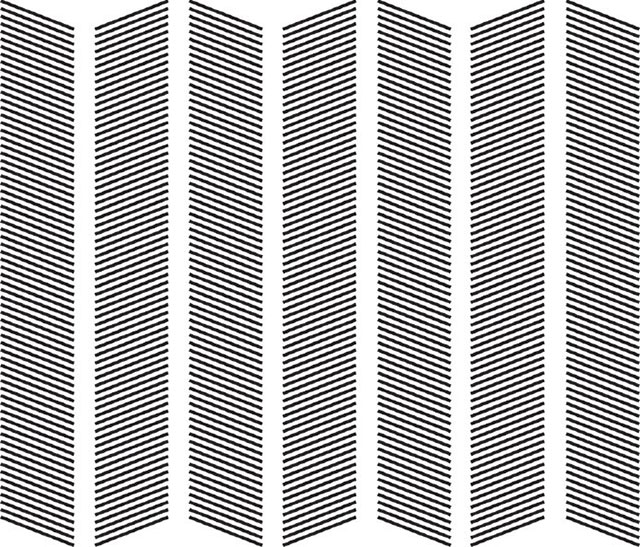 Siyah renkli çapraz çizgilerden oluşmuş sütunlar arasındaki hayali etkileşimler