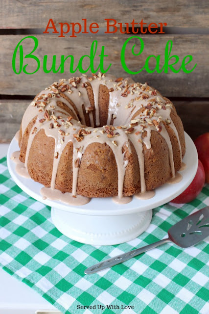 Apple Butter Bundt Cake recipe from Served Up With Love is filled with bits of apples and spices. Its the prefect cake for fall.