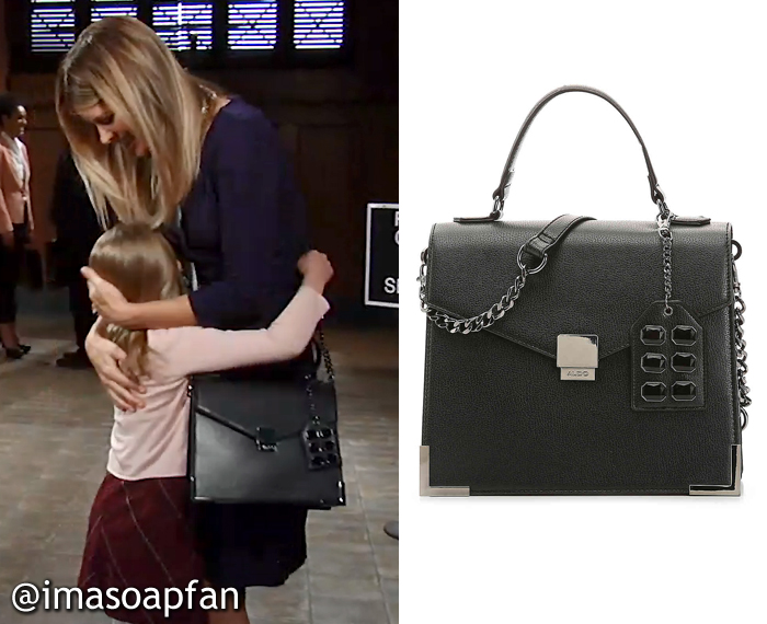 Nina Reeves, Michelle Stafford, Black Faux Leather Satchel, ALDO, GH, General Hospital