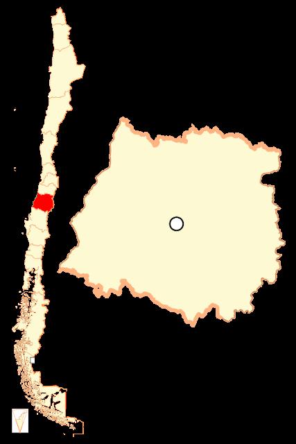 Mapa de localização da região de Maule - Chile