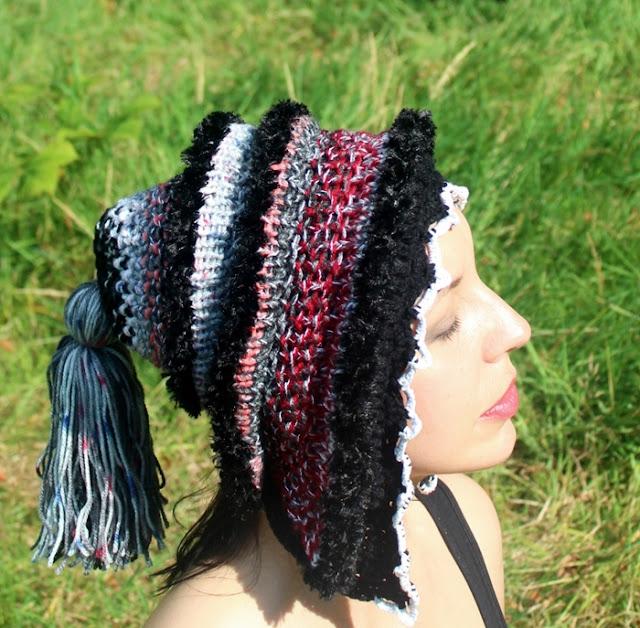 czapka kaptur na drutach