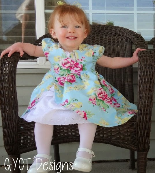 Little Girl in dress with Ruffle Petticoat in floral fabrics