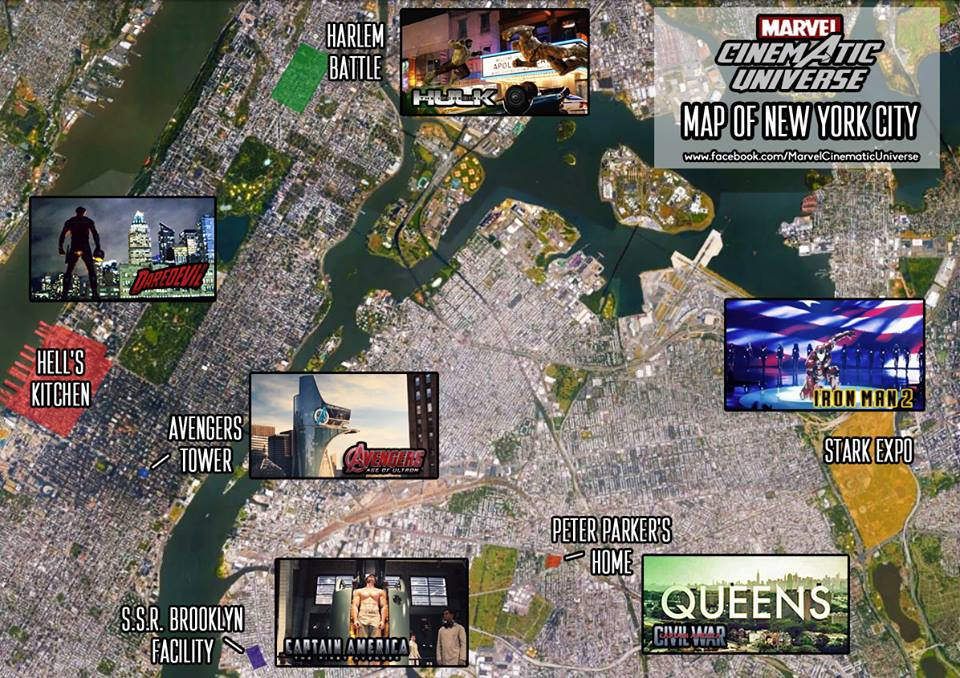 check out this map of new york city showing marvel cinematic universe landmarks