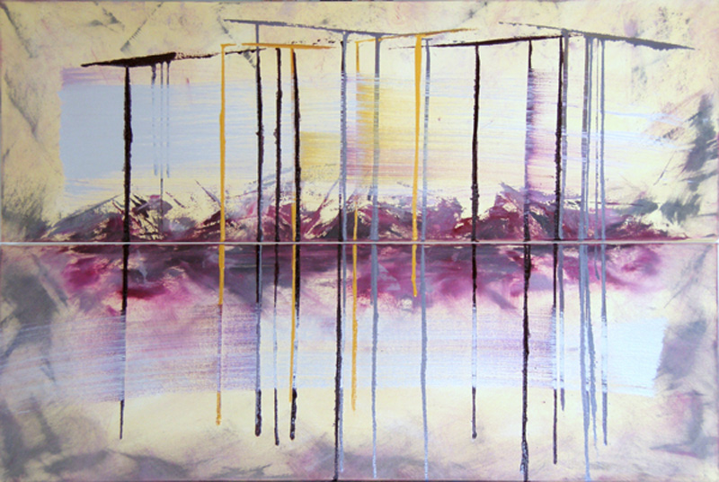 abstract contemporary oil painting, Hungarian art, European painters, bleeding canvas, purple, yellow, white, brushstrokes, pouring paint