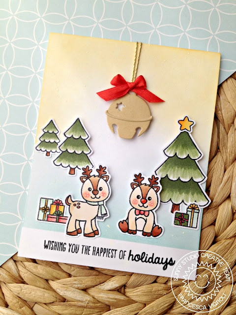 Sunny Studio Stamps: Silver Bells and Gleeful Reindeer Happiest Of Holidays Card by Francesca Vignoli