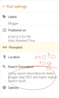 Blogger meta description