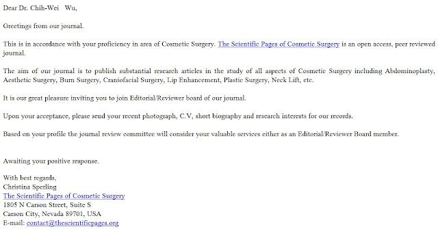 【榮獲美國Scientific Page of Cosmetic Surgery邀請為Editor/Reviewer】