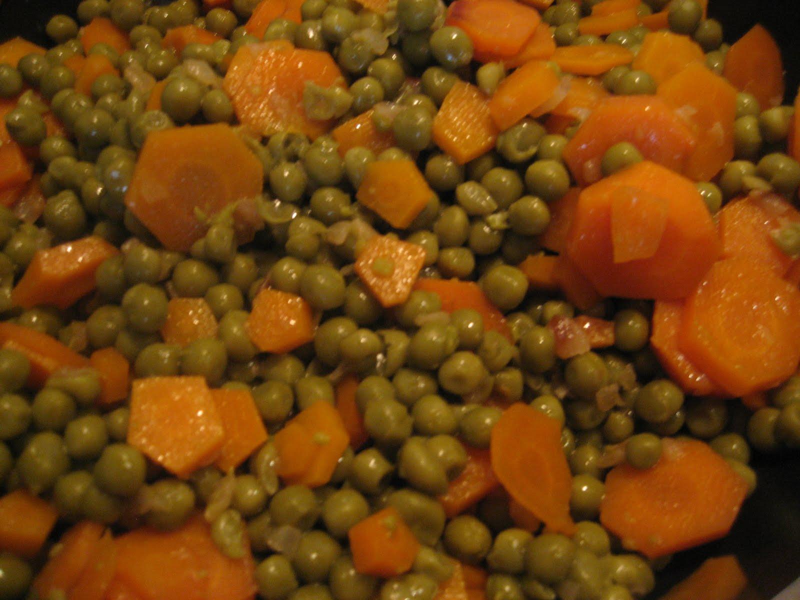 imparando a cucinare carote e piselli