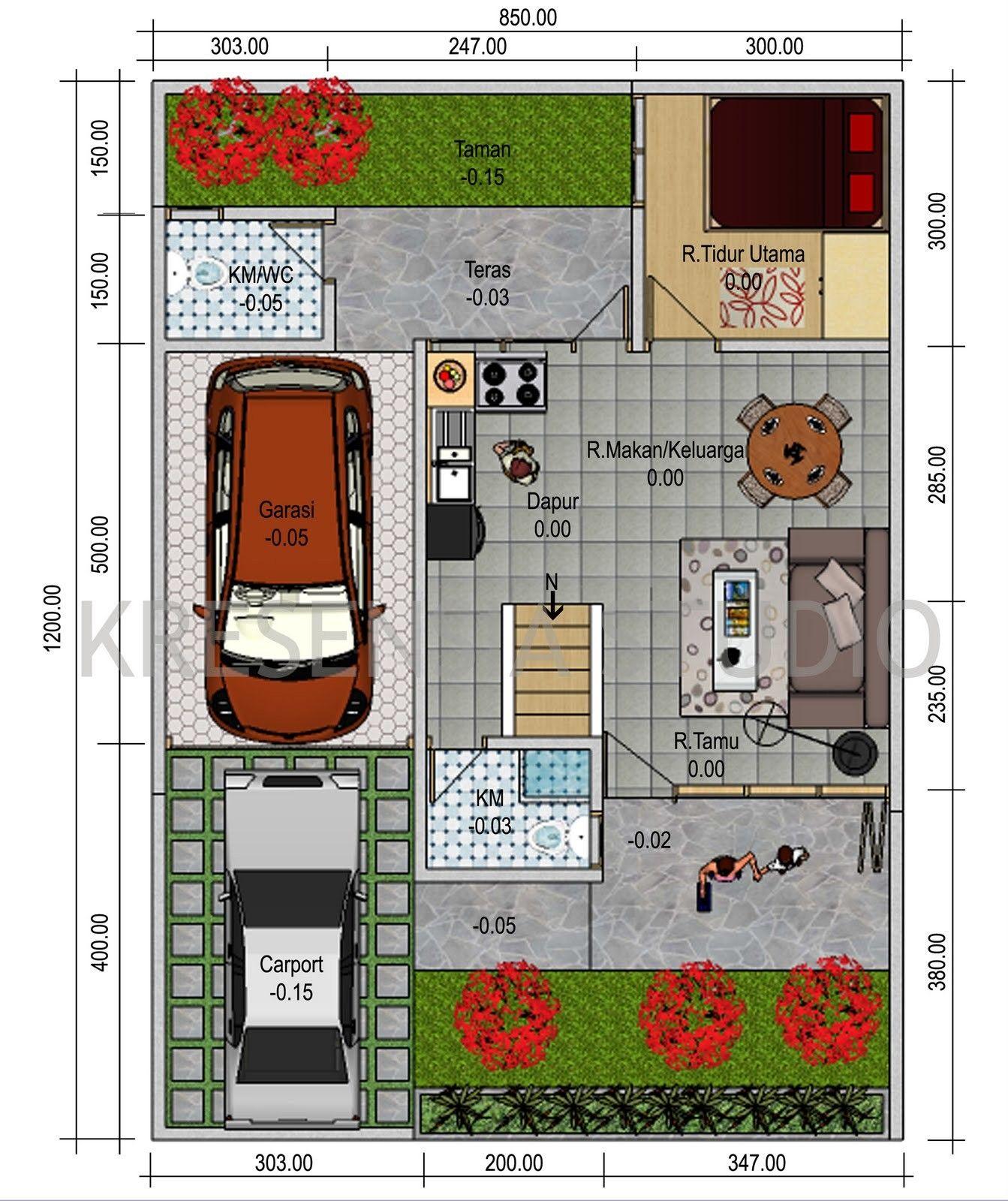 Denah Rumah Dengan Garasi 2 Mobil Desain Interior