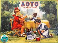 Лото на четырех языках Росгизместпром 1957 коробка обложка девочки медвежонок медведь игрушки стол обедают